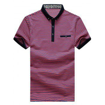 Men's Plus Size Turn-Down Collar Color Block Striped Short Sleeve Polo T-Shirt - WATERMELON RED 3XL