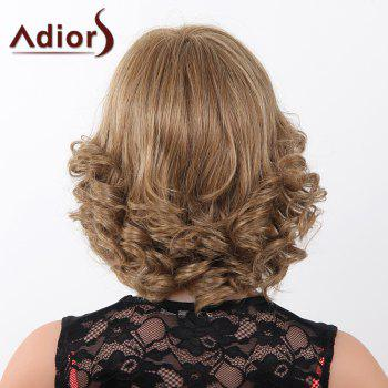 Fluffy Curly Short Adiors Human Hair Stunning Side Bang Capless Wig For Women -  MEDIUM BROWN