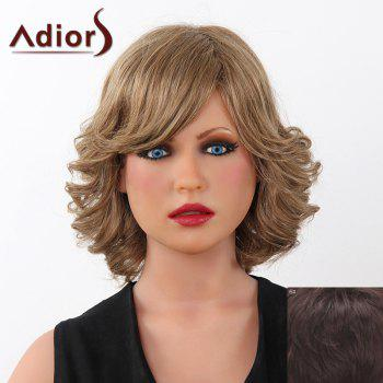 Fluffy Curly Short Adiors Human Hair Stunning Side Bang Capless Wig For Women - MEDIUM BROWN MEDIUM BROWN