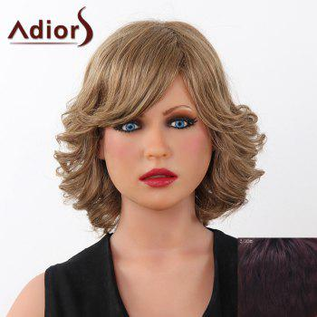 Fluffy Curly Short Adiors Human Hair Stunning Side Bang Capless Wig For Women - RED MIXED BLACK RED MIXED BLACK