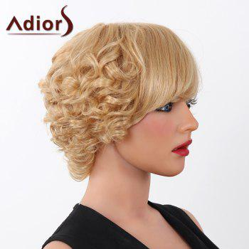 Fluffy Curly Human Hair Trendy Adiors Short Capless Wig For Women -  BLONDE