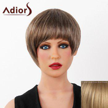 Graceful Short Full Bang Capless Human Hair Straight Women's Adiors Wig - GOLDEN BROWN WITH BLONDE GOLDEN BROWN/BLONDE