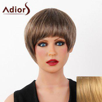 Graceful Short Full Bang Capless Human Hair Straight Women's Adiors Wig - BLONDE BLONDE