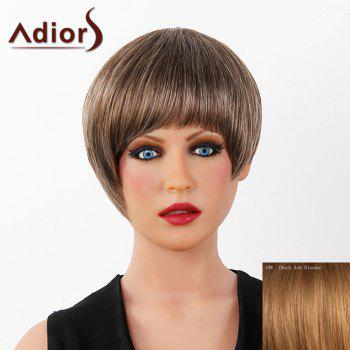 Graceful Short Full Bang Capless Human Hair Straight Women's Adiors Wig - DARK ASH BLONDE DARK ASH BLONDE