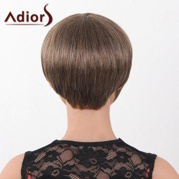 Graceful Short Full Bang Capless Human Hair Straight Women's Adiors Wig -  DARK BROWN