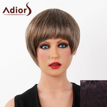 Graceful Short Full Bang Capless Human Hair Straight Women's Adiors Wig - RED MIXED BLACK RED MIXED BLACK