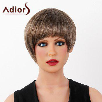 Graceful Short Full Bang Capless Human Hair Straight Women's Adiors Wig