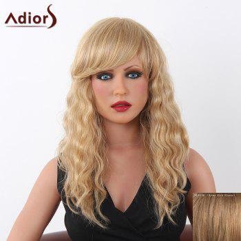 Charming Long Adiors Capless Shaggy Curly Women's Human Hair Wig - BROWN WITH BLONDE BROWN/BLONDE