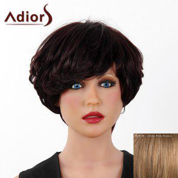 Fluffy Curly Short Layered Real Human Hair Stylish Side Bang Adiors Capless Wig For Women - BROWN WITH BLONDE BROWN/BLONDE