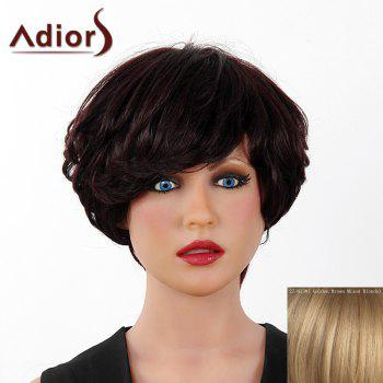 Fluffy Curly Short Layered Real Human Hair Stylish Side Bang Adiors Capless Wig For Women - GOLDEN BROWN WITH BLONDE GOLDEN BROWN/BLONDE