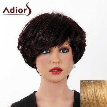 Fluffy Curly Short Layered Real Human Hair Stylish Side Bang Adiors Capless Wig For Women - BLONDE BLONDE