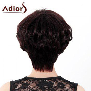Fluffy Curly Short Layered Real Human Hair Stylish Side Bang Adiors Capless Wig For Women -  DARKEST BROWN/GRAY