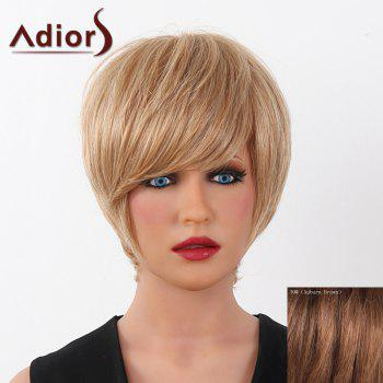 Human Hair Elegant Short Straight Capless Side Bang Adiors Wig For Women - AUBURN BROWN #30 AUBURN BROWN