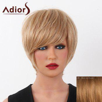 Human Hair Elegant Short Straight Capless Side Bang Adiors Wig For Women - DARK ASH BLONDE DARK ASH BLONDE