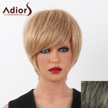 Human Hair Elegant Short Straight Capless Side Bang Adiors Wig For Women - DARKEST BROWN WITH GRAY DARKEST BROWN/GRAY