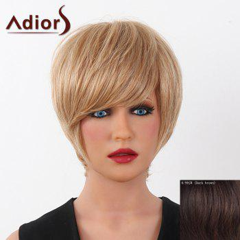 Human Hair Elegant Short Straight Capless Side Bang Adiors Wig For Women - DARK  BROWN DARK BROWN