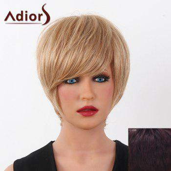 Human Hair Elegant Short Straight Capless Side Bang Adiors Wig For Women - RED MIXED BLACK RED MIXED BLACK
