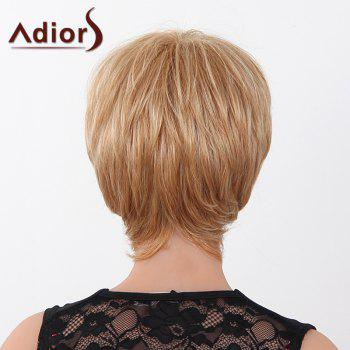 Human Hair Elegant Short Straight Capless Side Bang Adiors Wig For Women -  RED MIXED BLACK