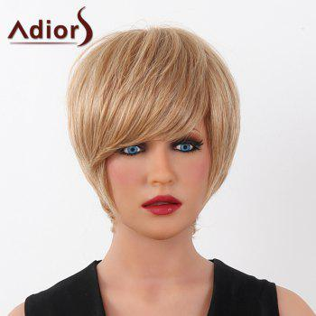 Human Hair Elegant Short Straight Capless Side Bang Adiors Wig For Women - BROWN WITH BLONDE BROWN/BLONDE