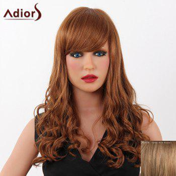 Fashion Long Adiors Capless Fluffy Wave Women's Real Human Hair Wig - BROWN WITH BLONDE BROWN/BLONDE