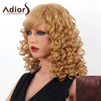 Stylish Medium Adiors Capless Shaggy Curly Women's Human Hair Wig - DARK AUBURN BROWN DARK AUBURN BROWN