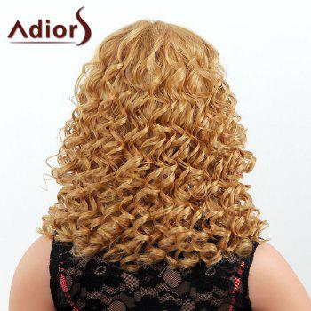 Stylish Medium Adiors Capless Shaggy Curly Women's Human Hair Wig -  BROWN/BLONDE