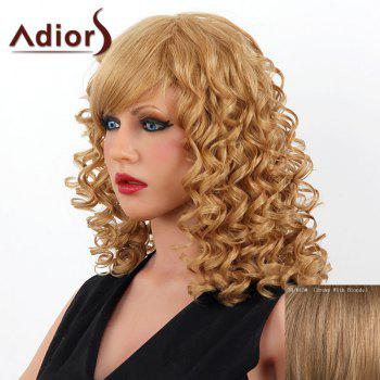Stylish Medium Adiors Capless Shaggy Curly Women's Human Hair Wig - BROWN WITH BLONDE BROWN/BLONDE
