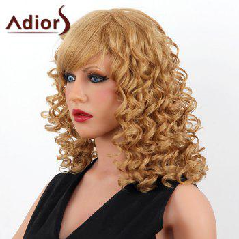 Stylish Medium Adiors Capless Shaggy Curly Women's Human Hair Wig