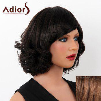 Stunning Short Human Hair Fluffy Side Bang Wave Capless Adiors Wig For Women