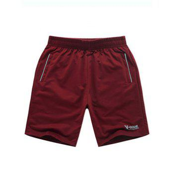 Men's Casual Solid Color Letter Printed Lace Up Sports Shorts