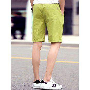Men's Casual Solid Color Lace Up Sports Shorts - APPLE GREEN 4XL