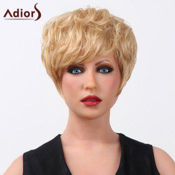 Fluffy Curly Short Elegant Side Bang Capless Human Hair Adiors Wig For Women
