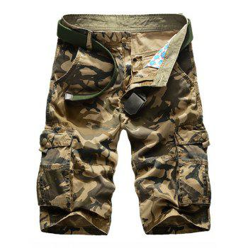 Camouflage Print Multi-Pockets Zipper Fly Straight Leg Men's Cargo Shorts