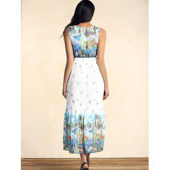 Bohemian Sleeveless Scoop Neck Bird Print Pleated Women's Dress - M M