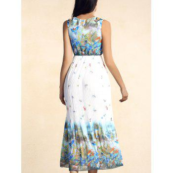 Bohemian Sleeveless Scoop Neck Bird Print Pleated Women's Dress - COLORMIX COLORMIX