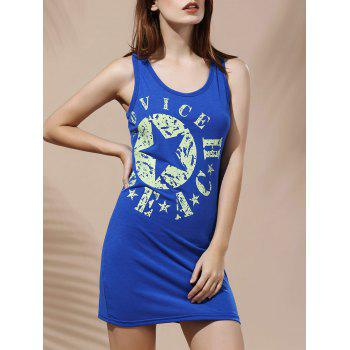 Scoop Collar Spaghetti Strap Star Print Dress