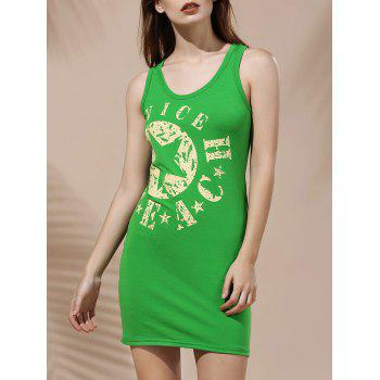 Simple Style Scoop Neck Spaghetti Strap Letter Print Dress For Women