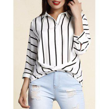 Chic Plus Size Batwing Sleeve Shirt Collar Striped Women's T-Shirt