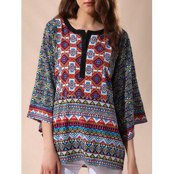 Casual 3/4 Sleeve Round Neck Tribal Print Women's Blouse