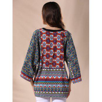 Casual 3/4 Sleeve Round Neck Tribal Print Women's Blouse - COLORMIX L