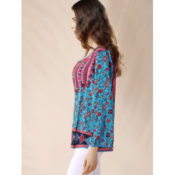 Side Slit Tiny Floral V Neck Blouse - BLUE M