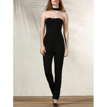Trendy Women's Halter Sleeveless Black Jumpsuit
