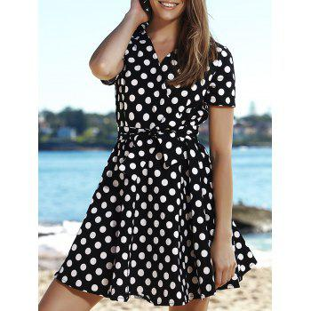Retro Polka Dot Print V-Neck Short Sleeve Ball Dress For Women