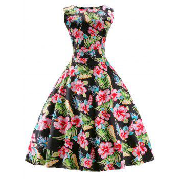 Vintage Round Neck Print Sleeveless Dress For Women