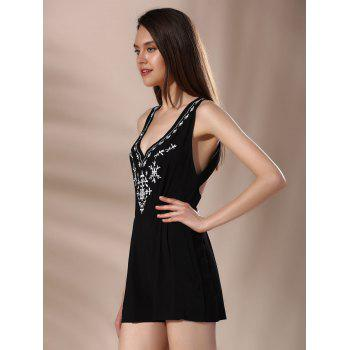 Sleeveless Criss Cross Embroidery Romper - BLACK M