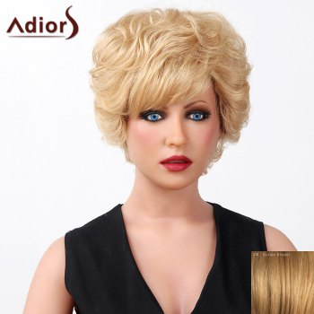 Stylish Oblique Bang Fluffy Natural Curly Short Capless Human Hair Wig For Women