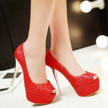 Trendy Stiletto Heel and Sequined Cloth Design Women's Peep Toe Shoes - RED RED