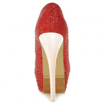 Trendy Talon Stiletto et pailletée Cloth design femme s  'Peep Toe Shoes - Rouge 36