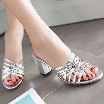 Stylish Chunky Heel and Solid Color Design Women's Slippers - 40 40