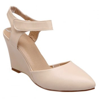 Trendy Pointed Toe and Solid Color Design Women's Wedge Shoes - APRICOT 39